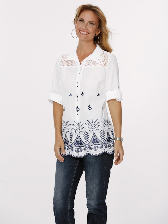 MONA Blouse with contrasting embroidery, White/Blue
