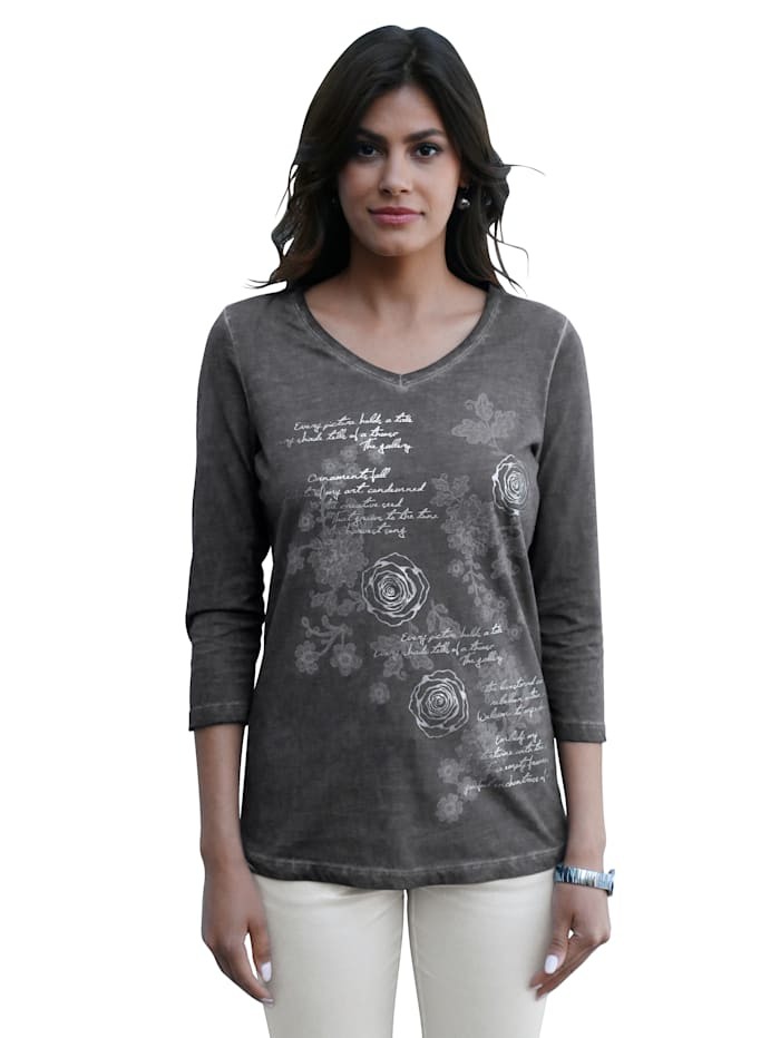 AMY VERMONT Shirt mit Rosen-Druck, Grau