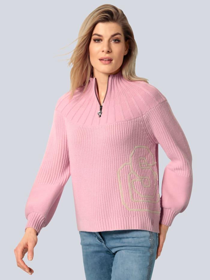 SPORTALM Pullover mit aufgesticktem Logo, Rosé