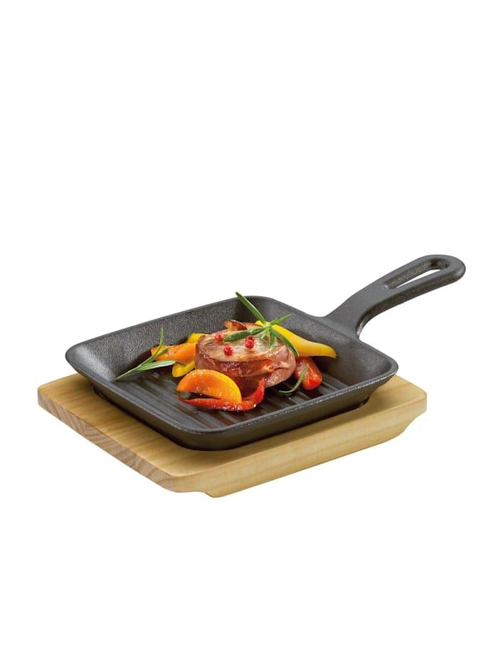 Neuetischkultur Grill-/ Servierpfanne mit Holzbrett, Schwarz
