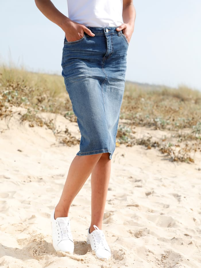 Dress In Jeansrock in moderner Waschung, Blue bleached