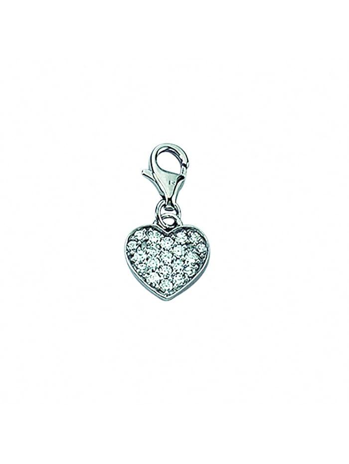 1001 Diamonds Damen Silberschmuck 925 Silber Charms Anhänger Herz mit Zirkonia, silber