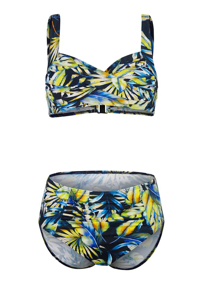 Maritim Bikini in trendy wikkellook, Marine/Groen/Geel