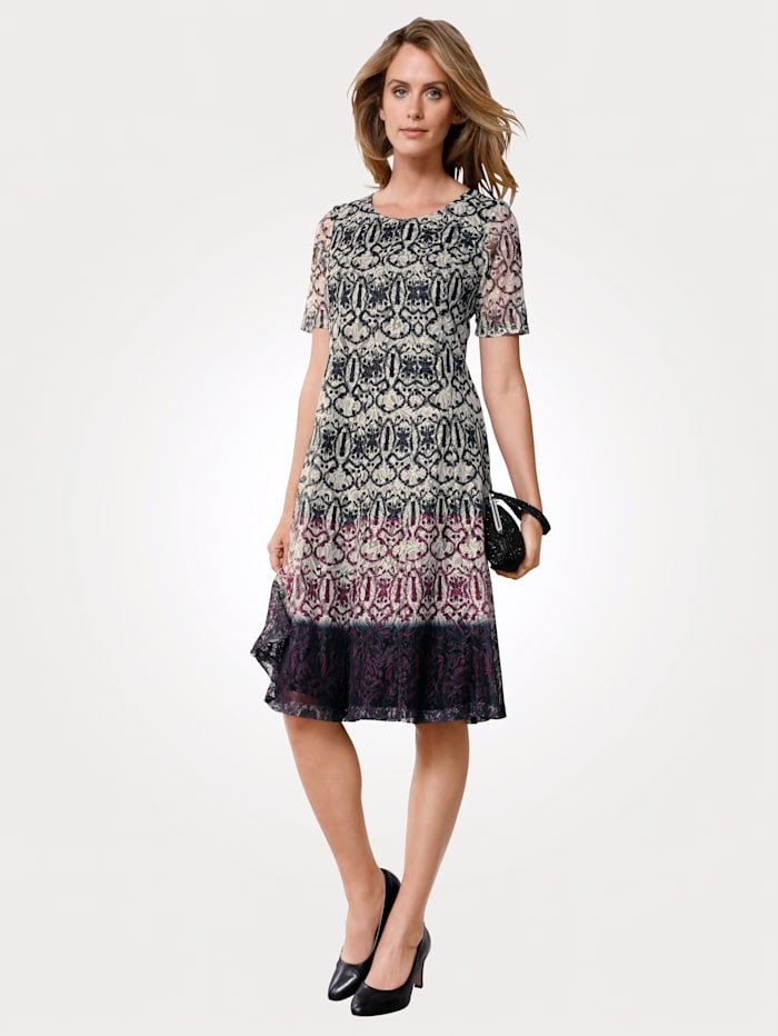 MONA Dress made from elegant lace, Black/White/Berry