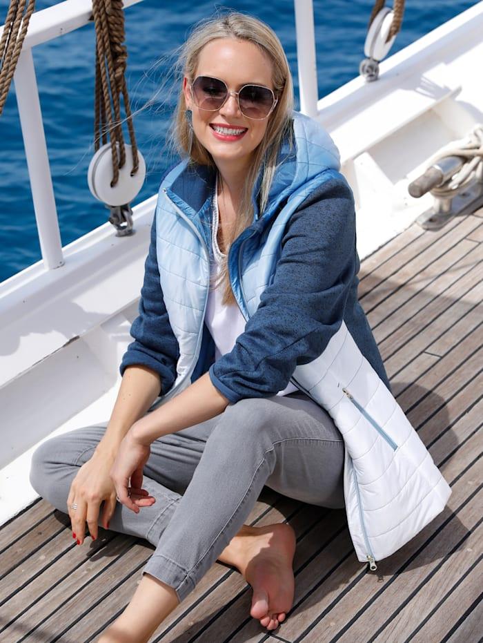 MIAMODA Veste à manches en maille polaire, Bleu/Blanc