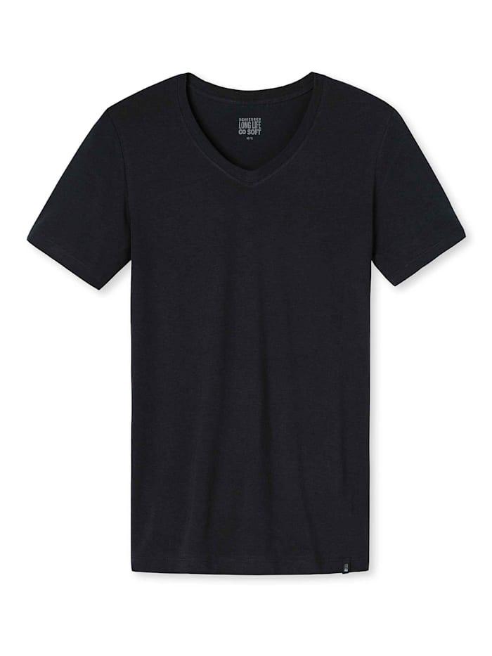 Schiesser T-Shirt, V-Ausschnitt, blauschwarz