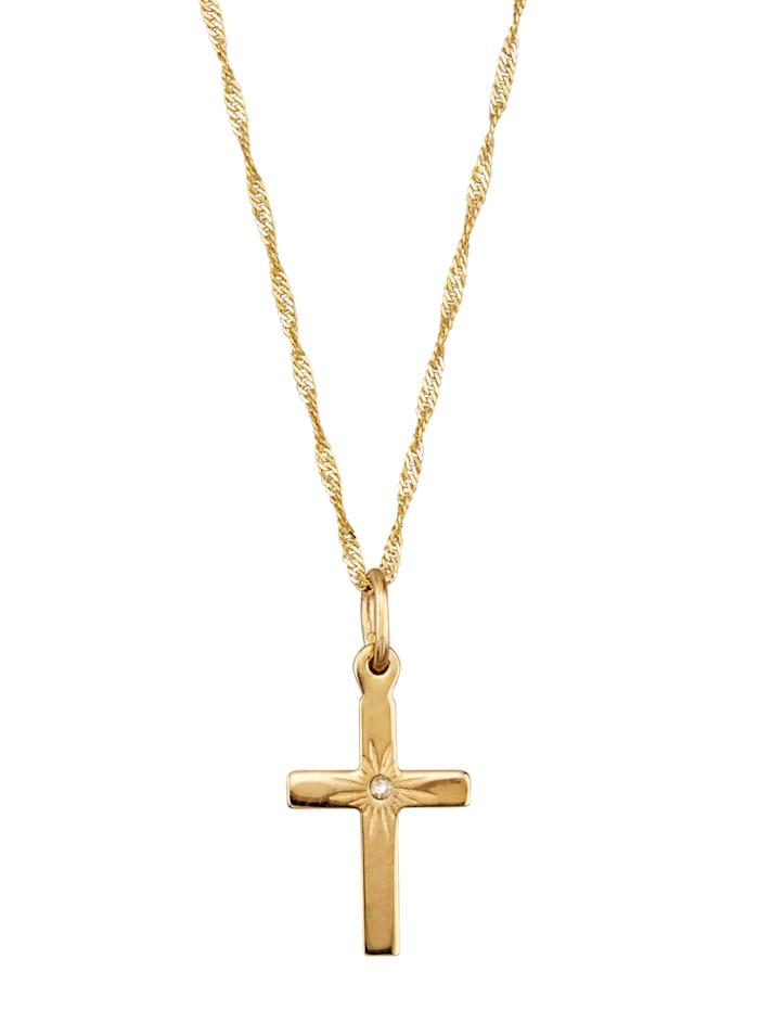 KLiNGEL Kreuz-Anhänger mit Diamant und Kette, Gelbgoldfarben