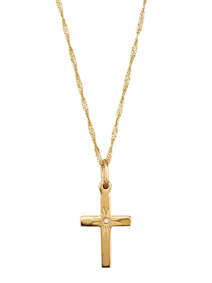 Kreuz-Anhänger mit Diamant und Kette, Gelbgoldfarben