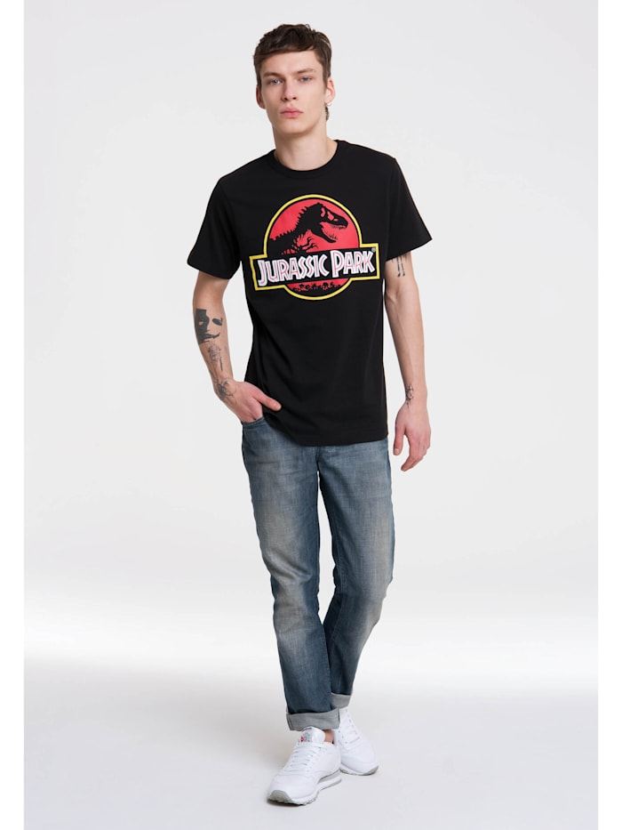 Logoshirt T-Shirt Jurassic Park im Retro-Look, schwarz