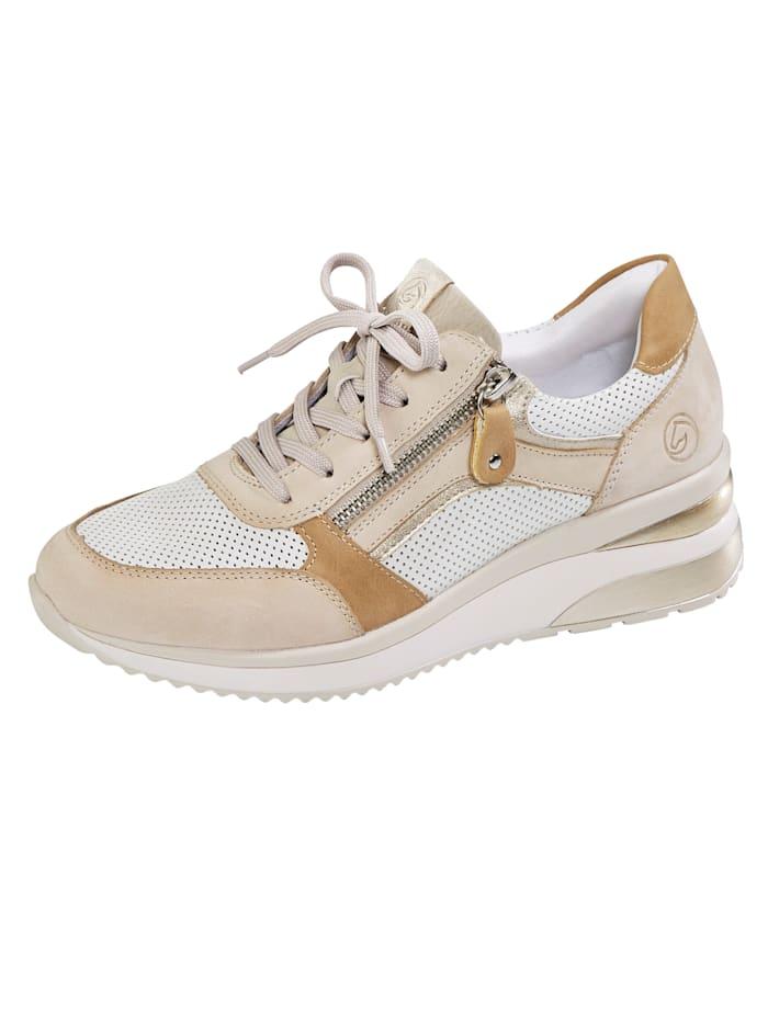 Remonte Keilsneaker mit edler Perforation, Sand/Weiß/Beige/Champagner