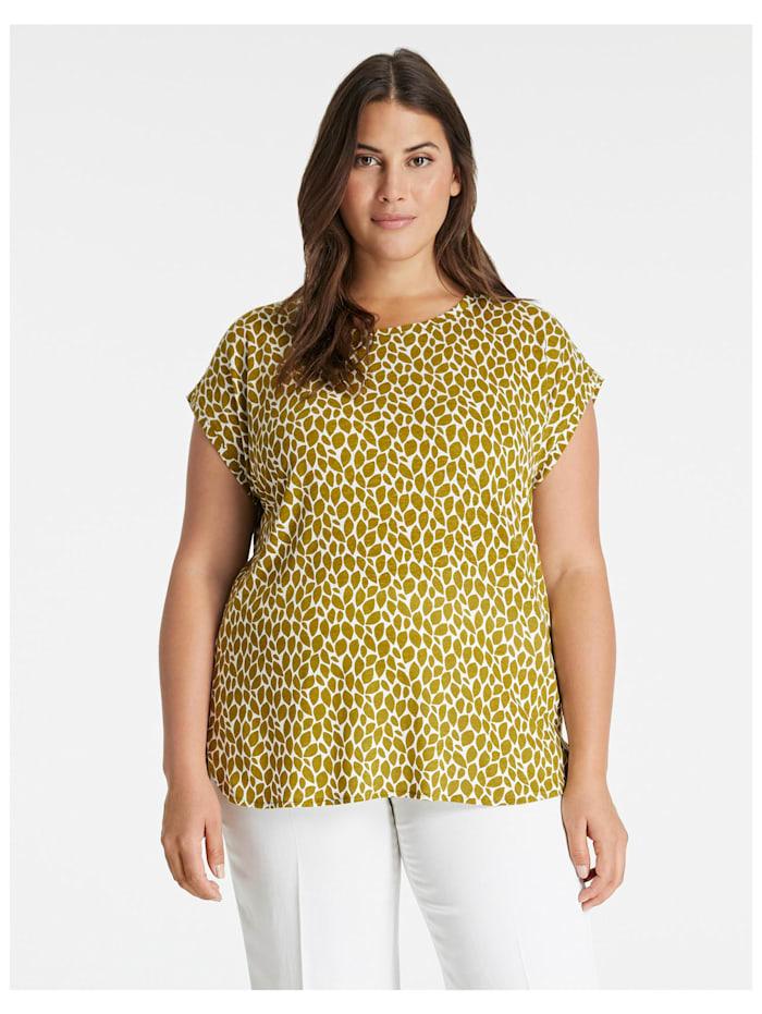 Samoon T-Shirt aus Leinen-Mix, Avocado Green gemustert