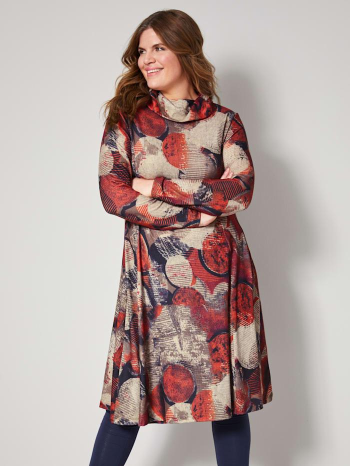 Jerseykleid mit halsfernem Rollkragen