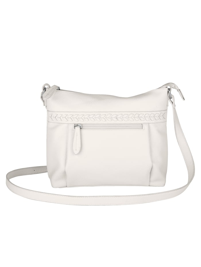 Aimée Shoulder Bag with textured panel detail, White
