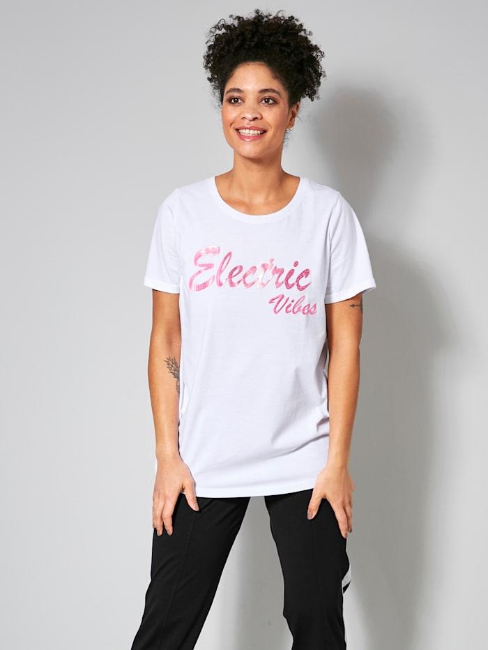 Janet & Joyce Shirt in losjesvallend model, Wit