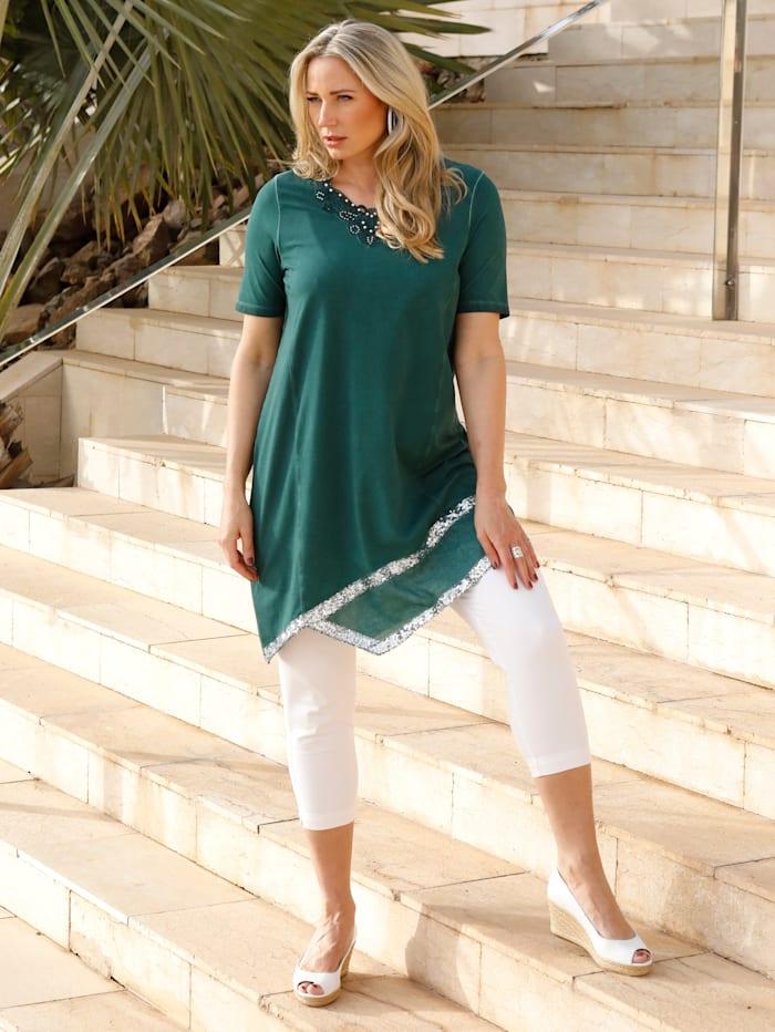 Longshirt mit dekorativem Webeinsatz am Saum