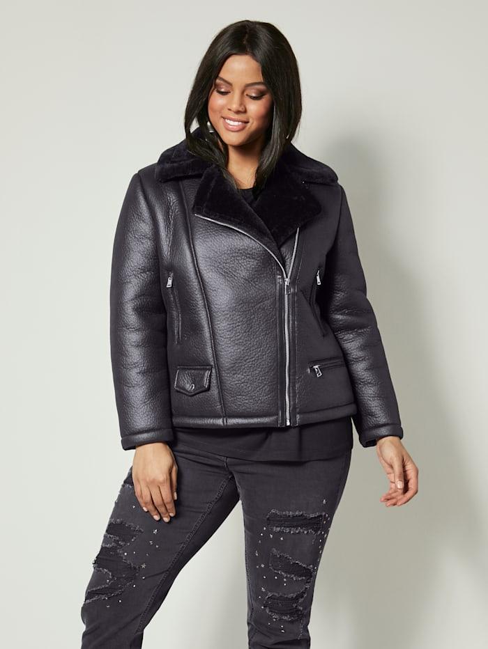 Angel of Style Imitatieleren jasje met beleg van imitatiebont, Zwart