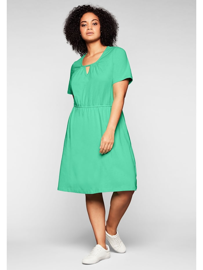 Sheego Jerseykleid mit Cut-out am Ausschnitt, minze