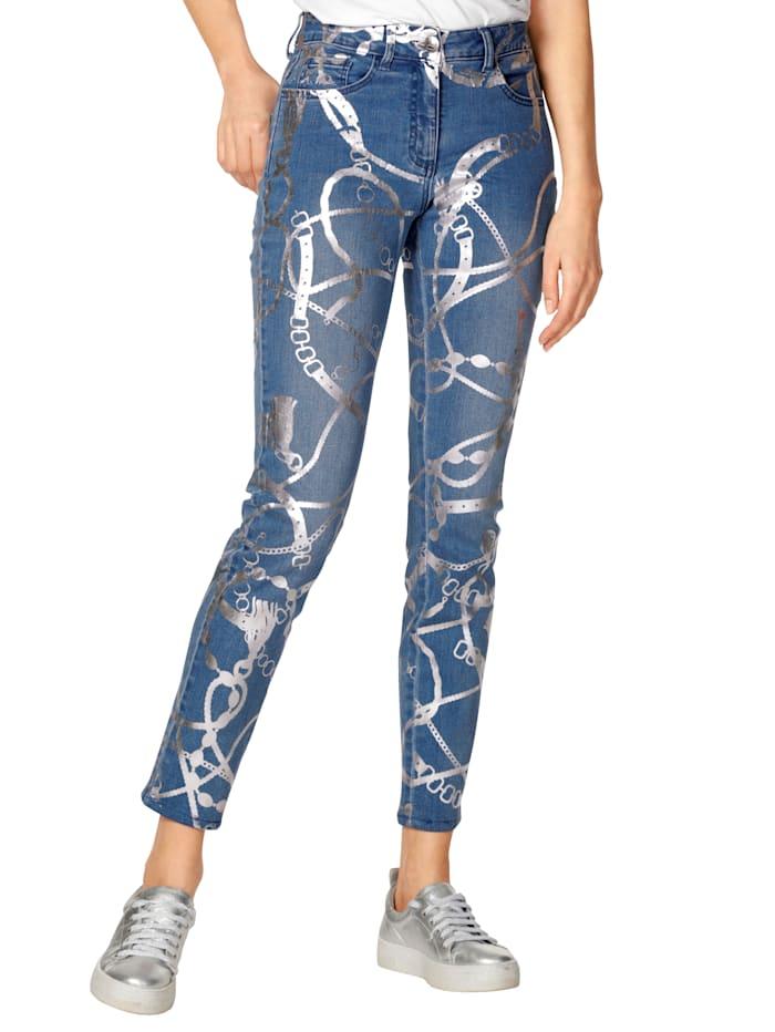 AMY VERMONT Jeans mit Folien-Druck, Blau/Silberfarben
