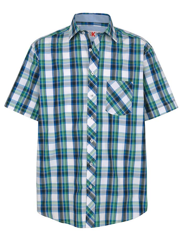 Roger Kent Overhemd met ingeweven ruitpatroon, Marine/Groen