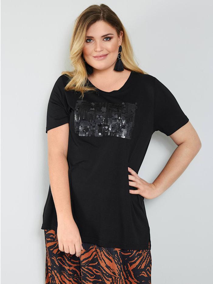 Sara Lindholm Shirt mit Pailletten, Schwarz