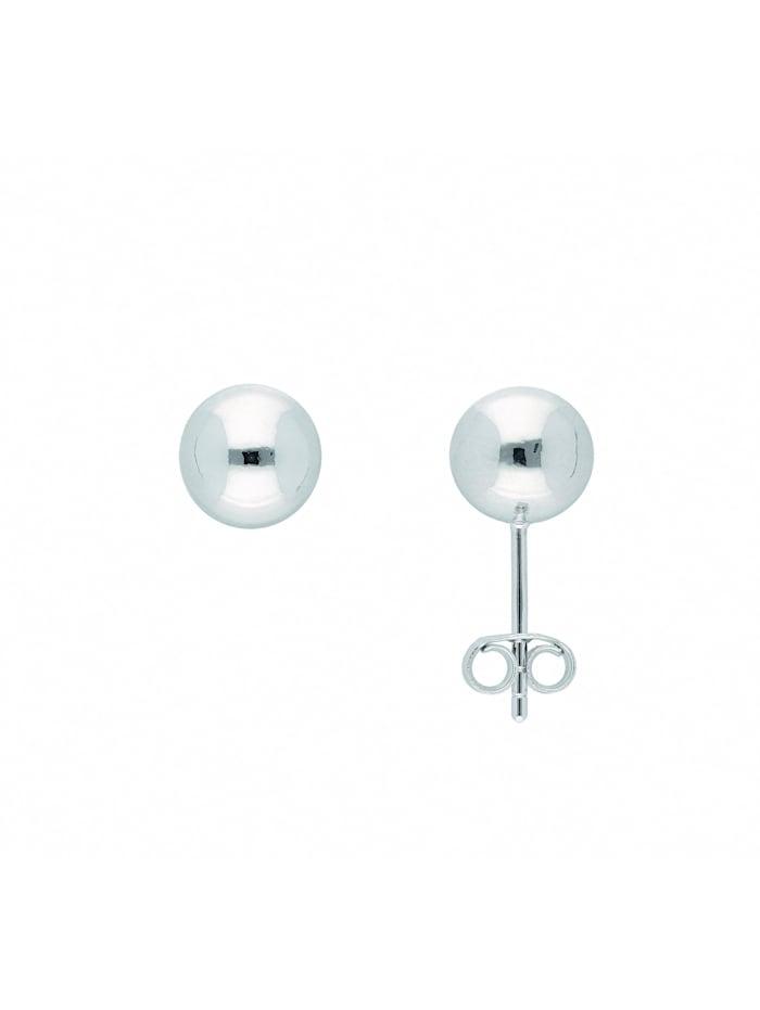 1001 Diamonds Damen Silberschmuck 925 Silber Ohrringe / Ohrstecker Ø 8 mm, silber