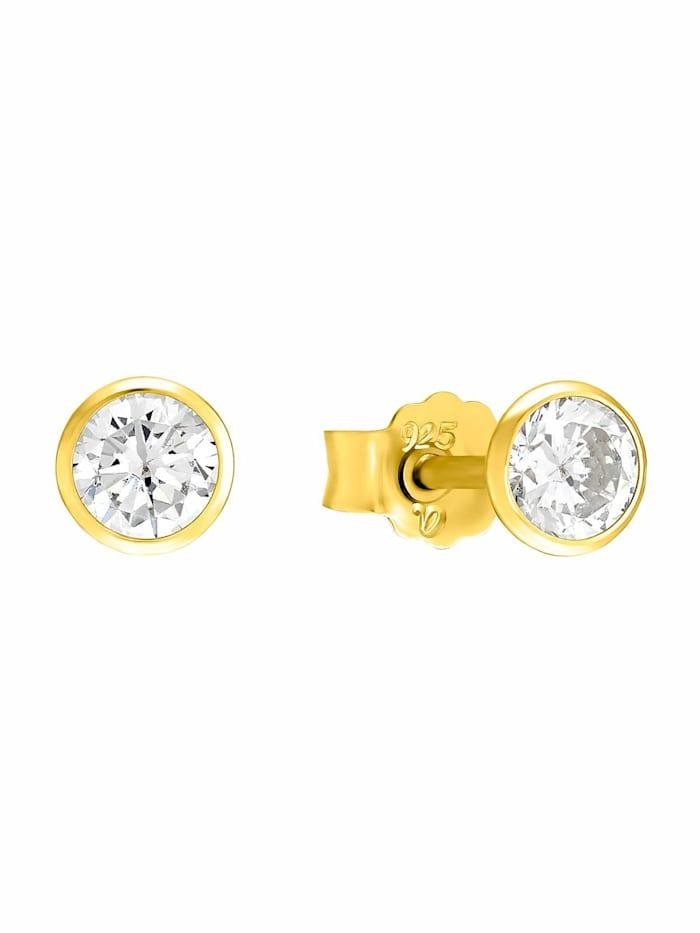 amor Ohrstecker für Damen, Sterling Silber 925 mit Zirkonia, Gold