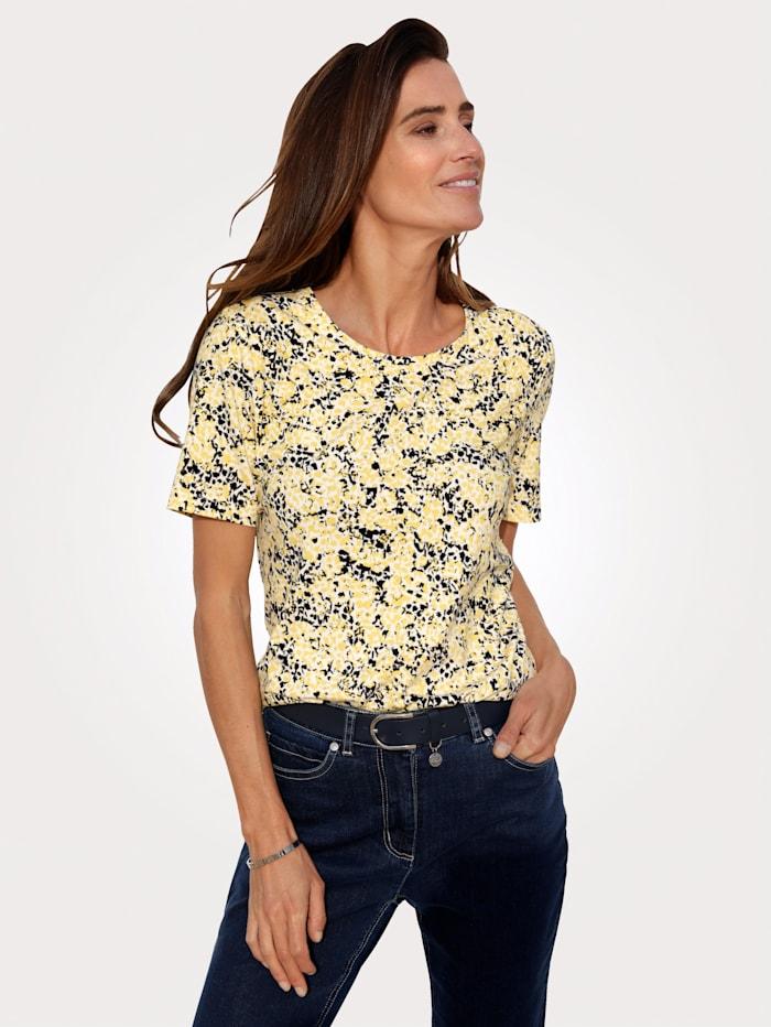 MONA Shirt mit grafischem Dessin, Gelb/Marineblau