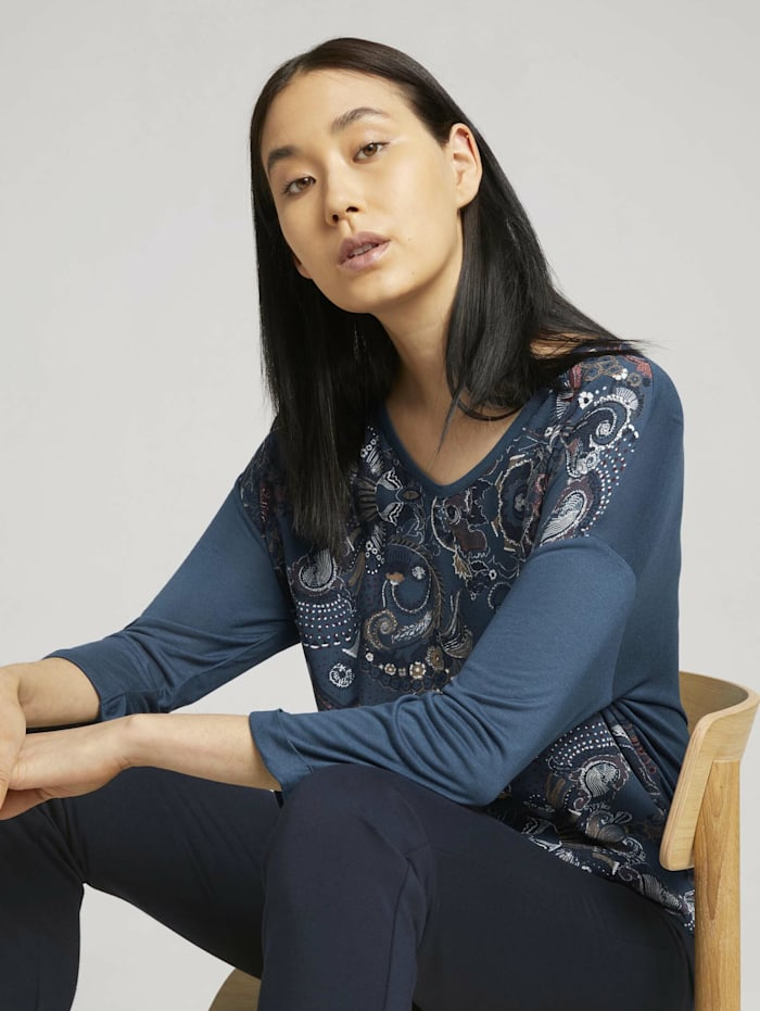Tom Tailor Gemustertes Shirt mit LENZING(TM) ECOVERO™, blue apricot paisley design