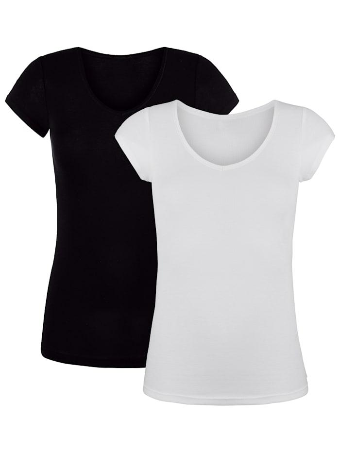 HERMKO T-shirts en coton certifié haut de gamme, Blanc/Noir