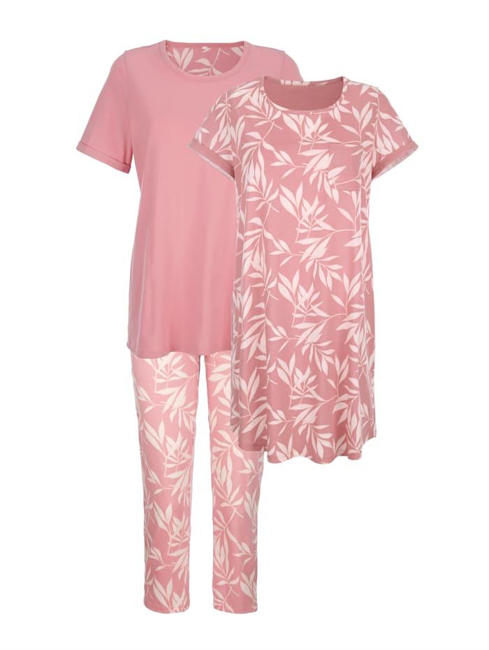 Blue Moon Súprava s nočnou košeľou & pyžamom, Staroružová/Telová/Ecru