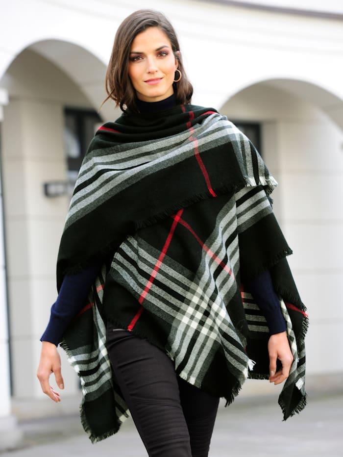 Fraas Poncho mit farblichem Highlight, Schwarz/Weiß/Rot