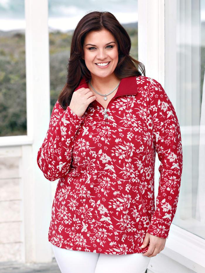 Fleece-Sweatshirt mit hübschen Blumendruckdessin