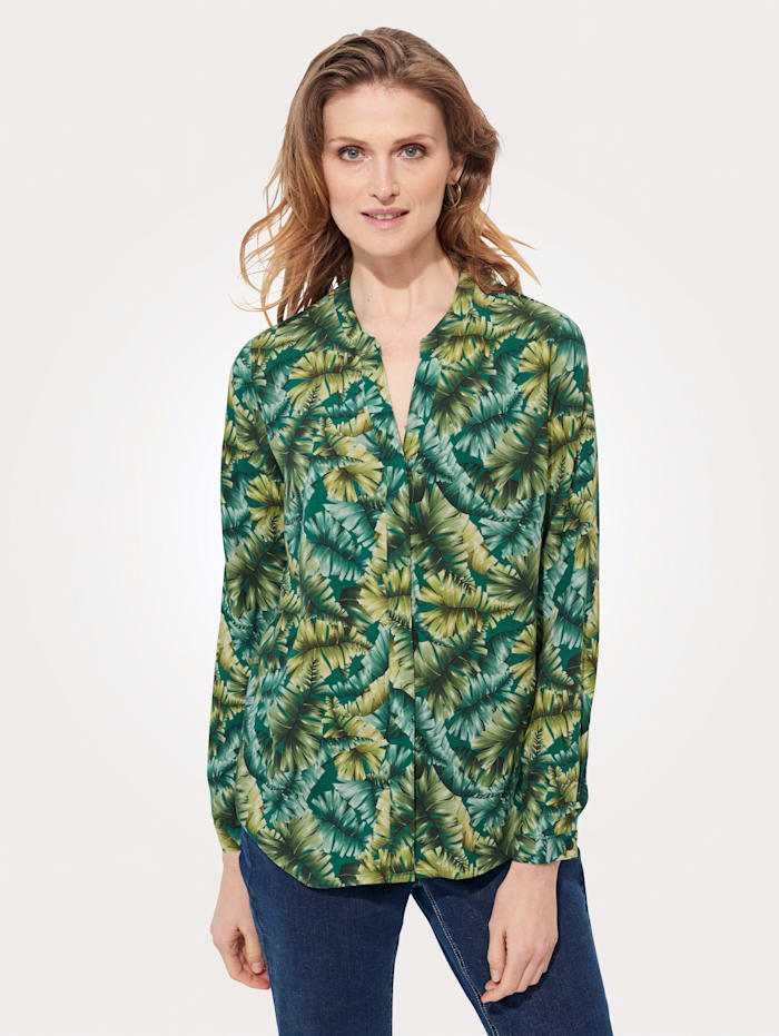 MONA Bluse mit floralem Druck, Hellgrün/Grün/Natur