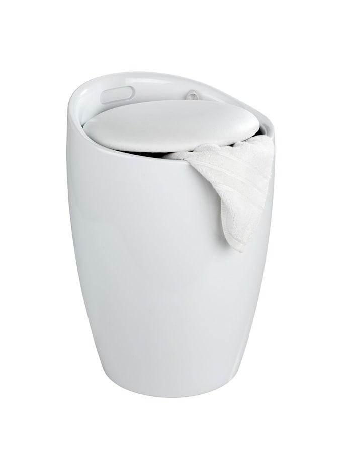 Wenko Hocker Candy White, mit Wäschesack, Badhocker, mit abnehmbarem Wäschesammler, Weiß, Wäschesack: Schwarz