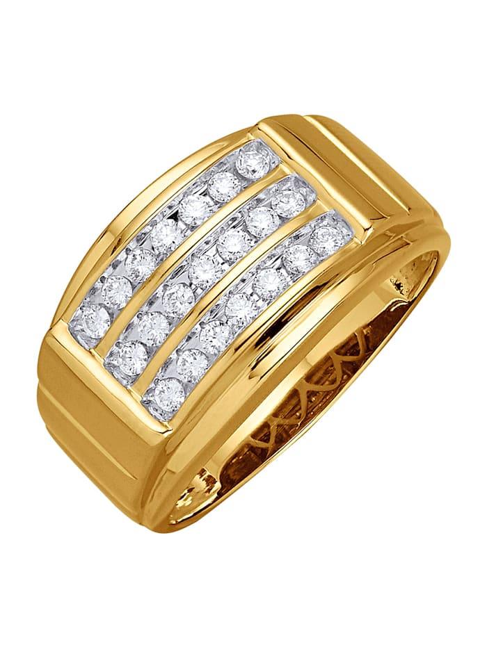 Diemer Diamant Herenring met briljanten, Geelgoudkleur