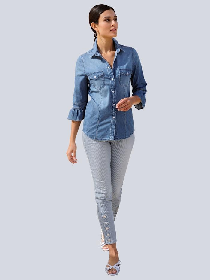 Jeans im Streifenmuster allover