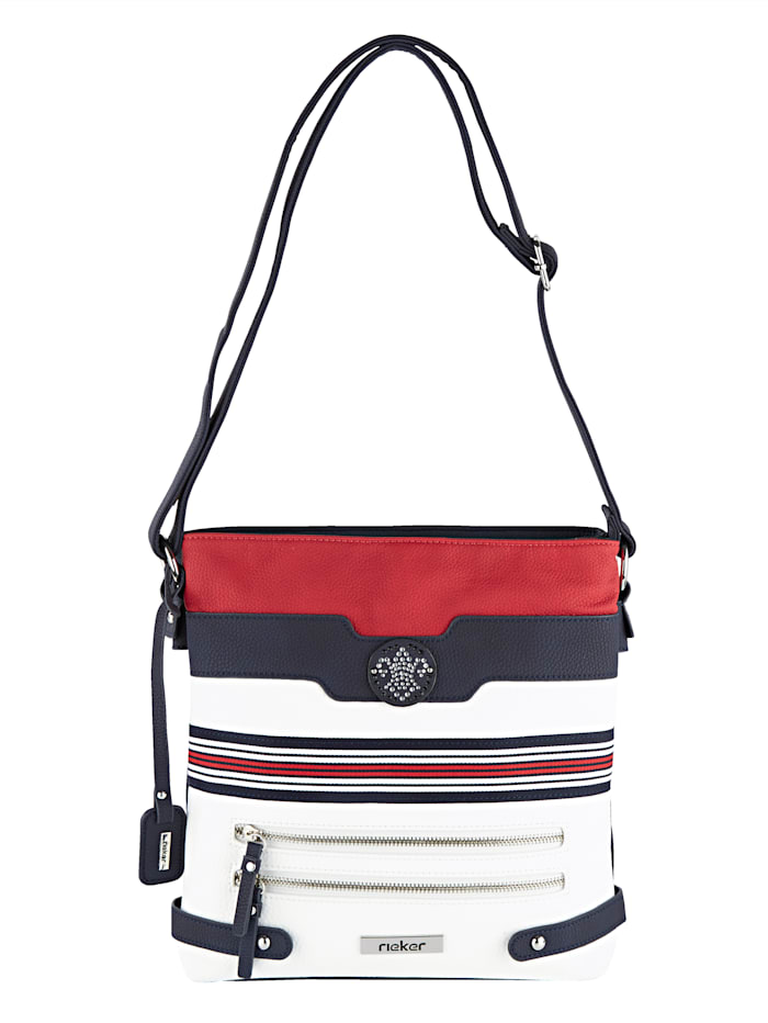 Rieker Shoulder bag with detachable Rieker tag, White/Navy/Red