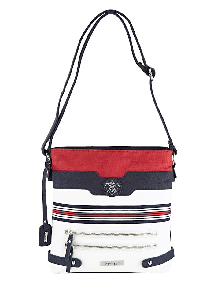 Rieker Umhängetasche mit abnehmbarem rieker-Anhänger, Weiß/Marineblau/Rot