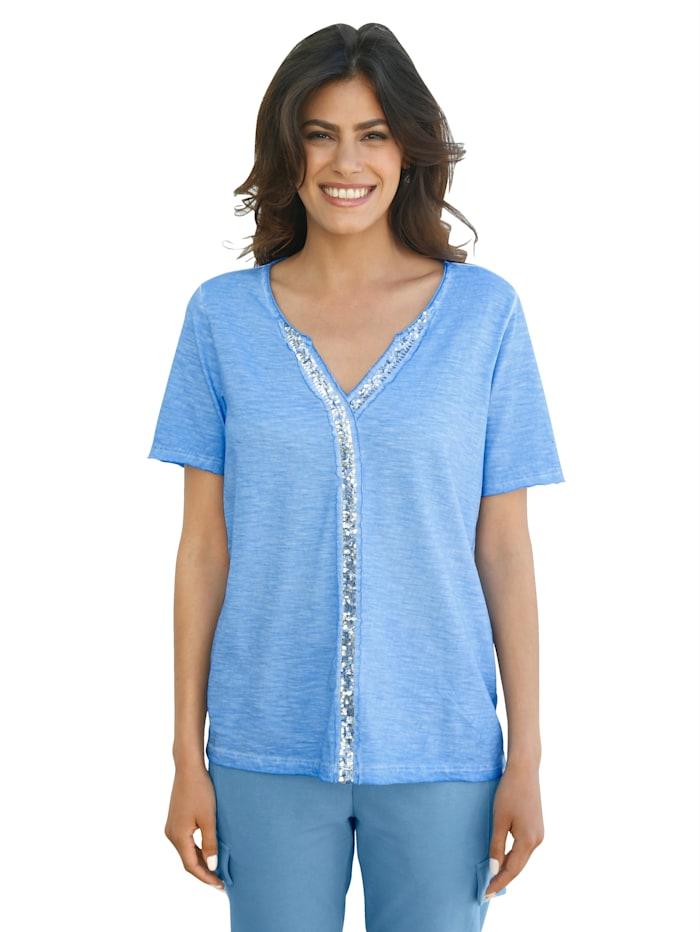 AMY VERMONT Shirt met paillettenversiering, Lichtblauw