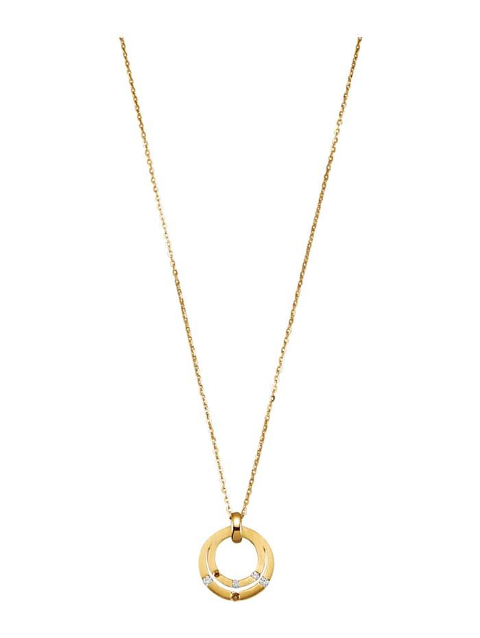 Diemer Diamant Anhänger mit Kette mit Kette, Gelbgoldfarben