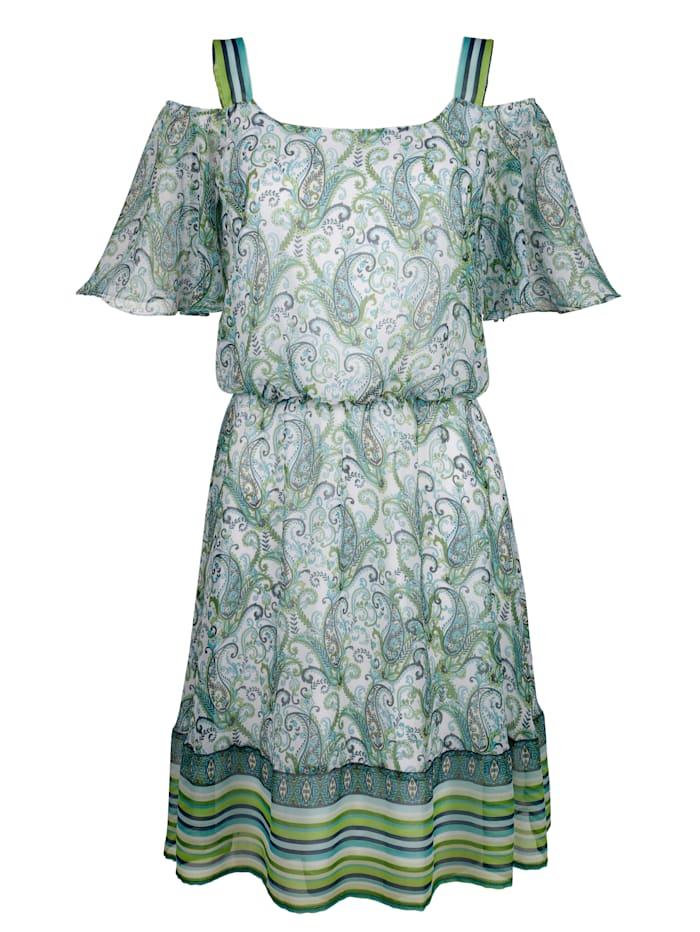 Laura Kent Druckkleid in modischem Paisleydessin, Weiß