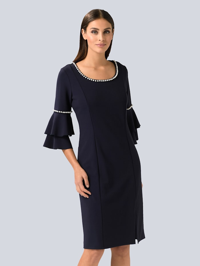 Alba Moda Kleid mit femininen Perlen verziert, Marineblau