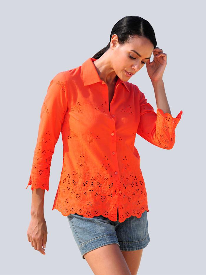 Alba Moda Strandbluse mit Stickerei, Orange
