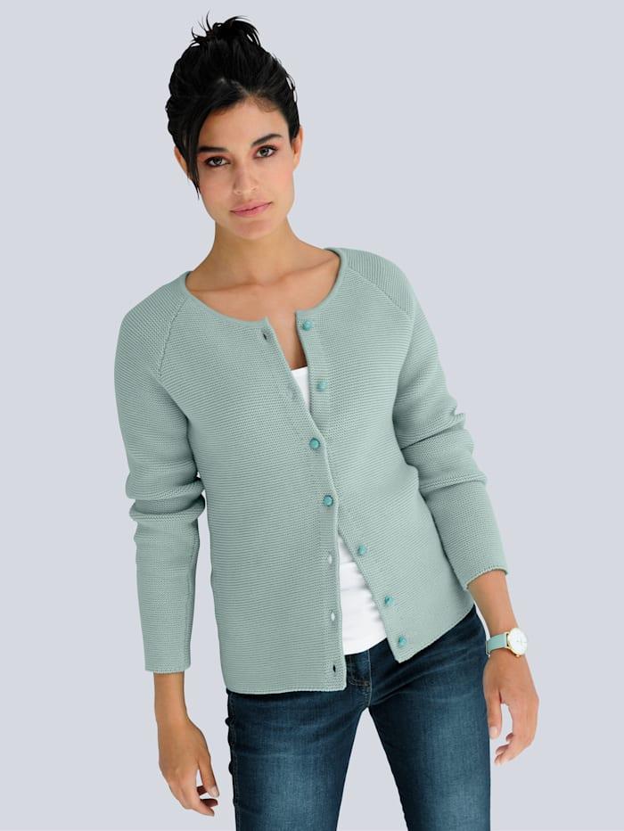 Alba Moda Strickjacke aus Pima Baumwolle, Salbeigrün