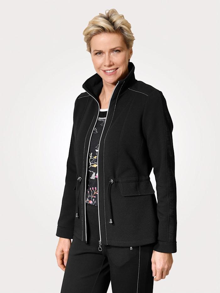 MONA Shirtjacke mit silbernen Details, Schwarz