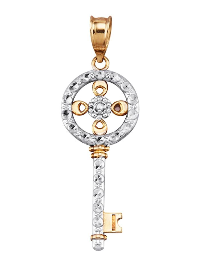 Pendentif Clé avec diamants, Coloris or jaune