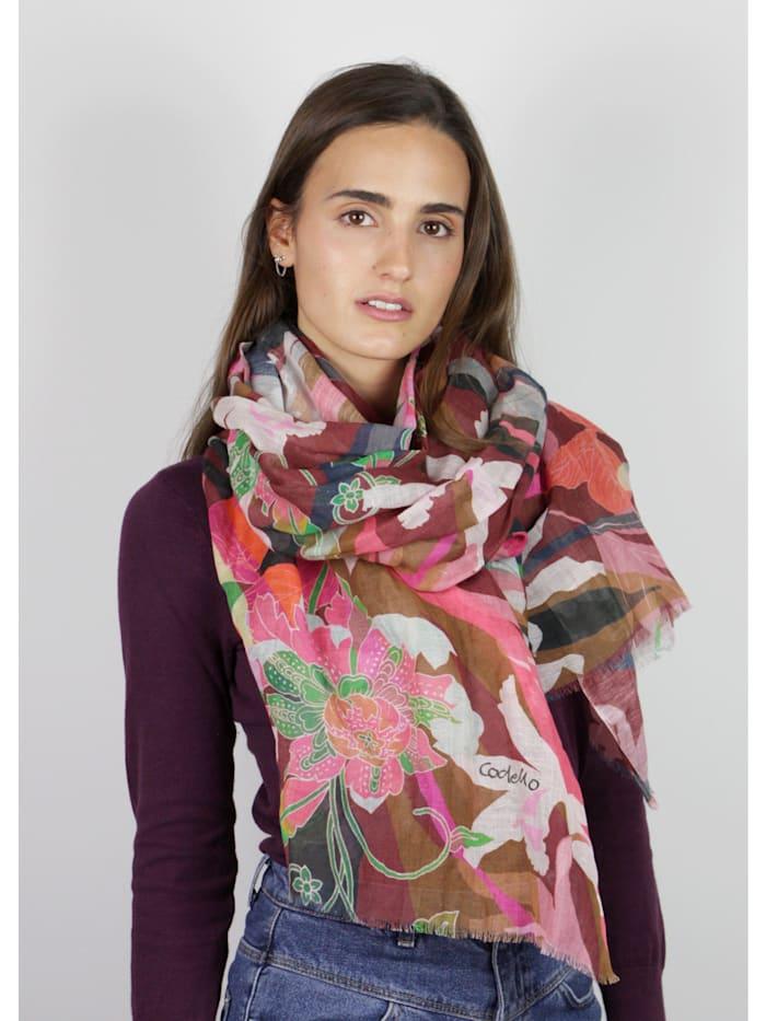 Sommerleichter Flower-Schal aus Leinen und Baumwolle