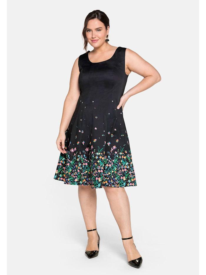 Sheego Bahnenkleid mit floralem Alloverprint, schwarz bedruckt