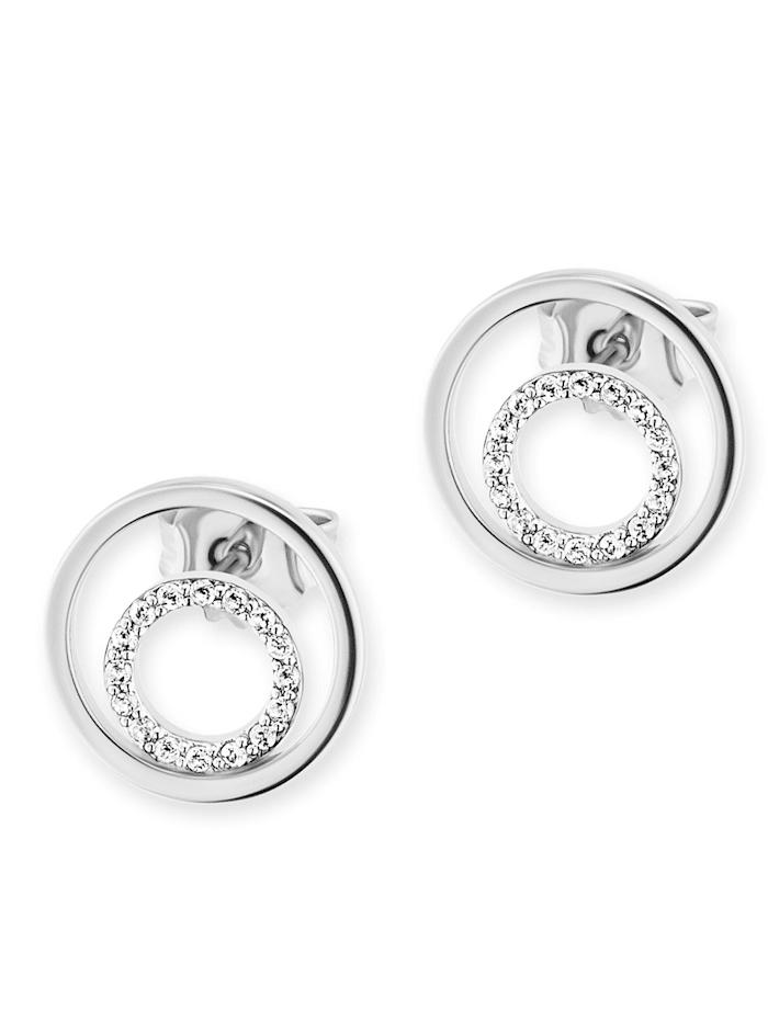 CAI Ohrstecker 925/- Sterling Silber Topas weiß 1,3cm Glänzend 0,004ct/pc. 925/- Sterling Silber, weiß