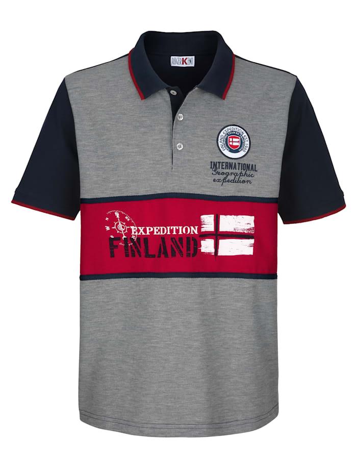 Roger Kent Poloshirt in Piqué-Qualität, Marineblau/Grau